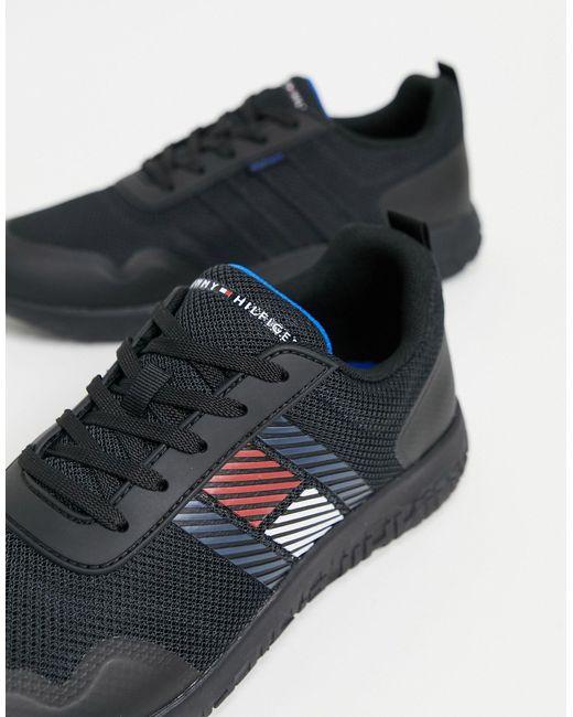 Легкие Черные Кроссовки С Логотипом В Виде Флага Сбоку -черный Цвет Tommy Hilfiger для него, цвет: Black