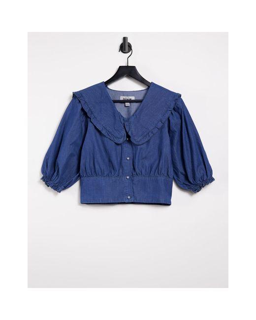 Синяя Джинсовая Блузка С Воротником -голубой New Look, цвет: Blue