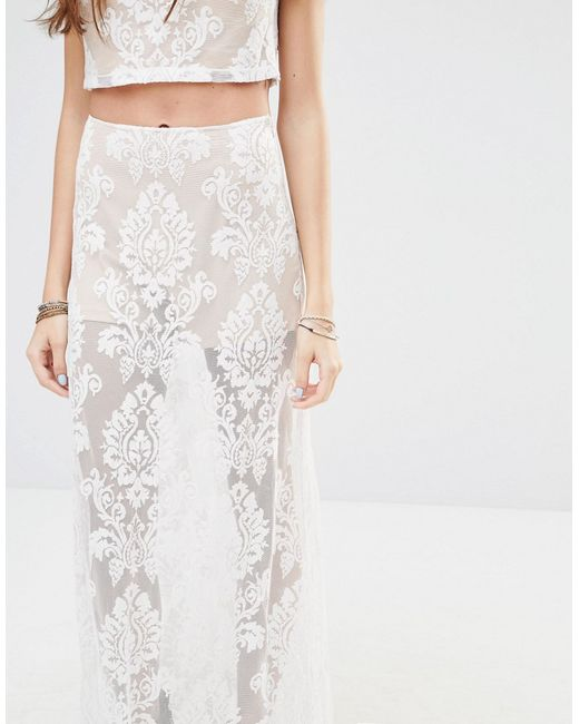 honey punch maxi skirt with sheer lace paisley print co