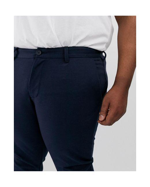 Pantaloni eleganti slim blu navy di Only & Sons in Blue da Uomo