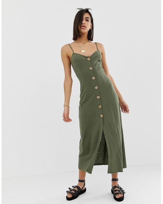 2733cdac1ca ASOS - Green Maxi Slubby Cami Swing Dress With Faux Wood Buttons - Lyst ...