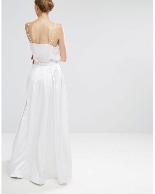 asos bridal maxi prom skirt in white lyst
