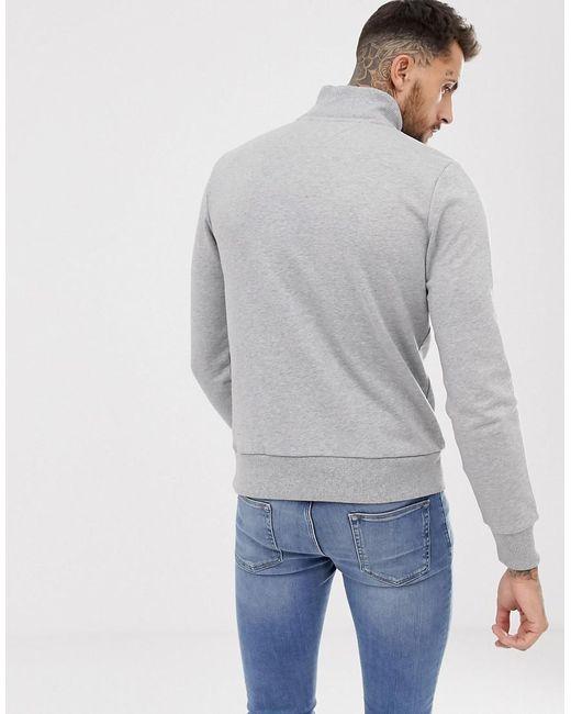 23fcafd2 ... Tommy Hilfiger - Gray Half Zip Sweatshirt With Chest Panel Logo In Grey  for Men -