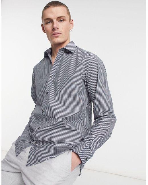 Рубашка Узкого Кроя В Полоску -темно-синий French Connection для него, цвет: Gray