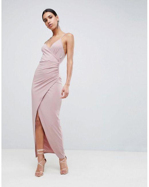 ASOS - Multicolor Design Slinky Drape Maxi Dress - Lyst