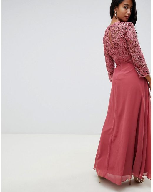 Lace Top Maxi Dress In Rose