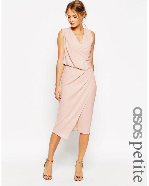ASOS | Pink Petite Wedding Wrap Drape Midi Dress | Lyst