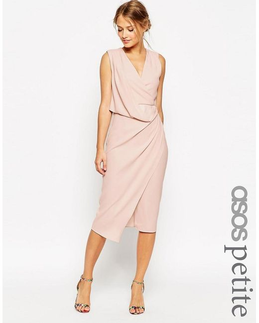ASOS | Pink Petite Wedding Wrap Drape Midi Dress | Lyst