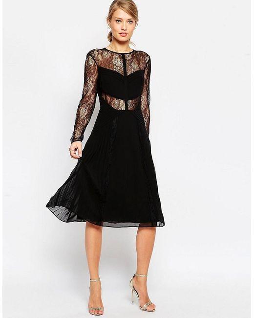 ASOS | Black Lace And Pleat Detail Midi Dress | Lyst