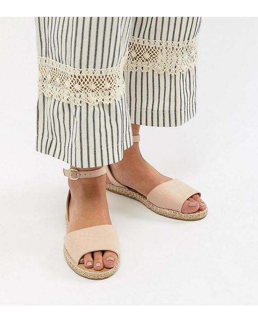 Truffle Collection - Natural Wide Fit Espadrille Flat Sandals - Lyst