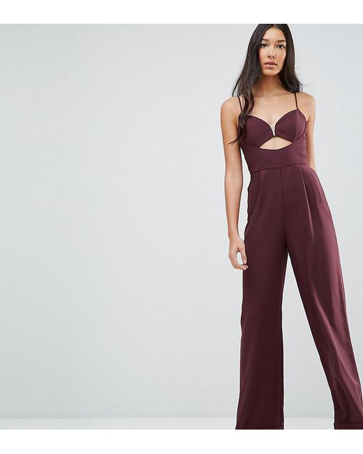 ASOS - Purple Tailored Jumpsuit With Cut Out Detail And Wide Leg - Lyst