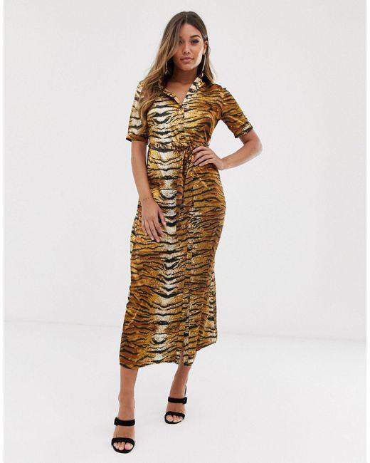 Платье-рубашка Миди С Тигровым Принтом -мульти Missguided, цвет: Brown