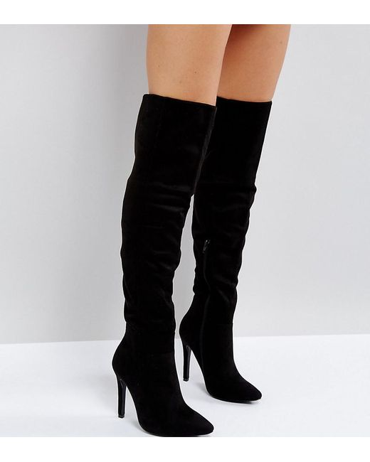 truffle collection wide fit thigh high stiletto boot in