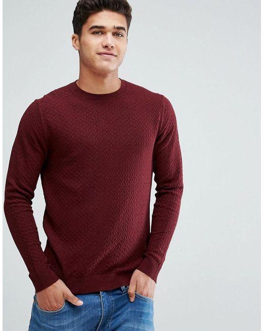 Jack & Jones - Red Premium Crew Neck Knit for Men - Lyst