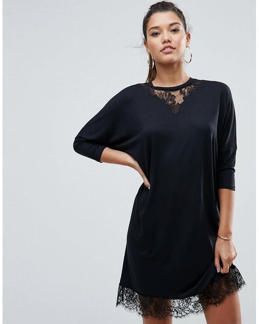 ASOS | Black Oversize T-shirt Dress With Batwing Sleeve And Lace Inserts | Lyst