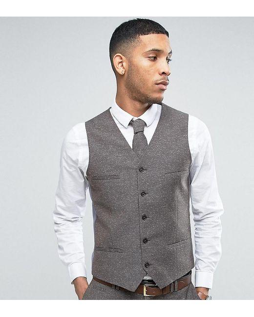 Lyst - Noak Skinny Wedding Suit Waistcoat In Linen Nepp in Brown for Men