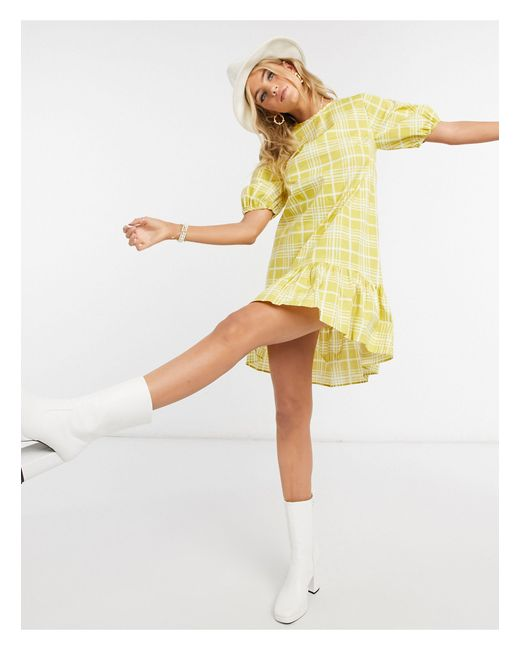 TOPSHOP Yellow Printed Mini Poplin Dress