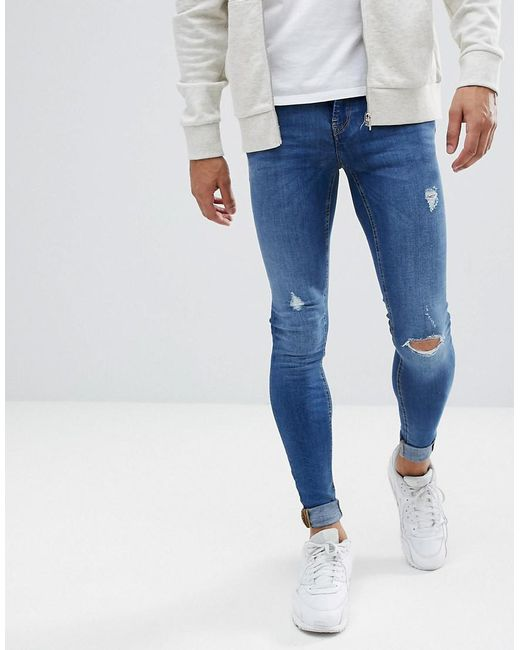Blend - Blue Tall Flurry Mid Wash Extreme Skinny Jeans for Men - Lyst