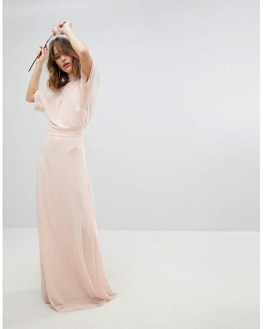 62c85de5b1007 ... TFNC London - Pink High Neck Maxi Bridesmaid Dress With Fishtail - Lyst