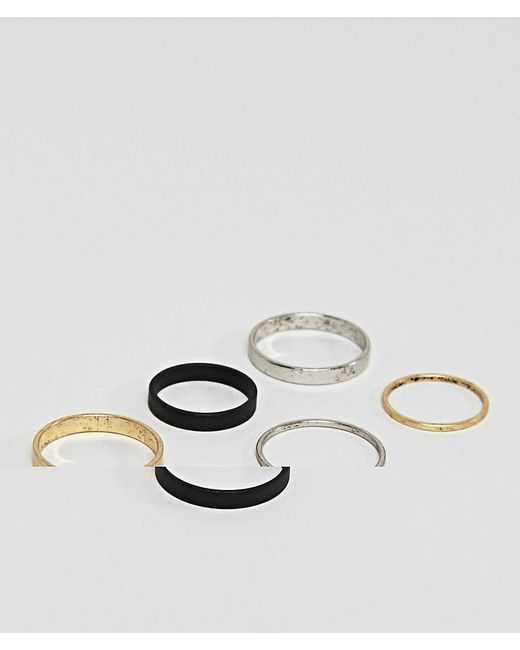 ASOS | Purple Midi Ring Pack In Burnished Finish | Lyst
