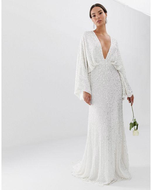 Свадебное Платье С Широкими Рукавами И Пайетками -белый ASOS, цвет: White