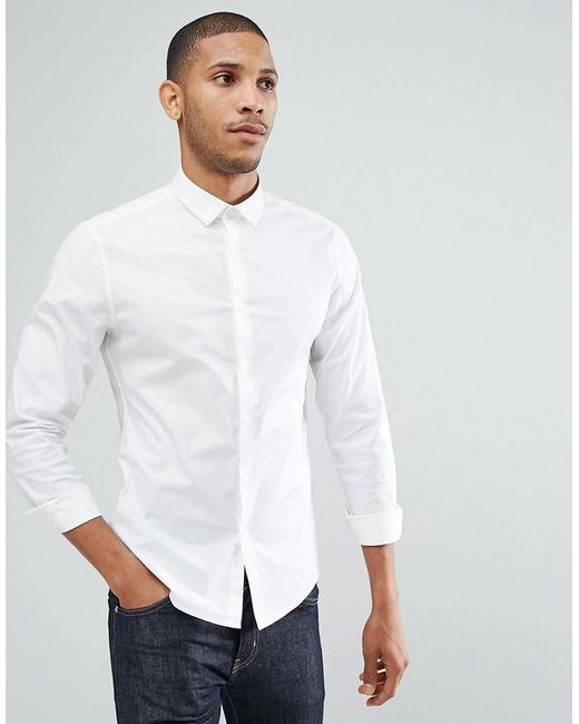 ASOS - Slim Shirt With Stretch In White for Men - Lyst