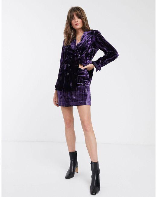 Фиолетовая Мини-юбка Из Мятого Бархата -черный & Other Stories, цвет: Purple