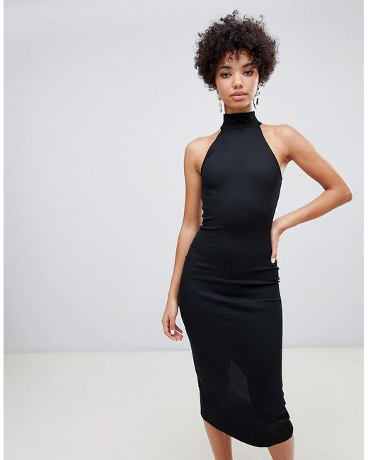 River Island - Bodycon Dress With High Neck In Black - Lyst