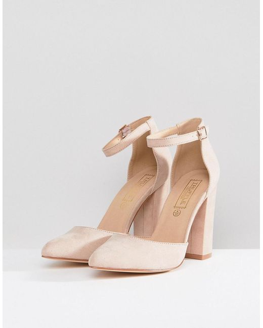 3c1b953c4deb7 Truffle Collection Natural Pointed Block Heels Truffle Collection Natural Pointed  Block Heels