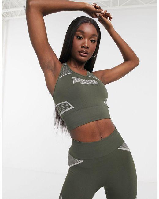 Бесшовный Спортивный Бюстгальтер Цвета Хаки Training-зеленый PUMA, цвет: Green