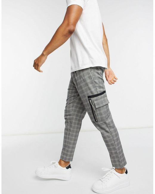 Pantalones elegantes tapered con estampado ASOS de hombre de color Gray