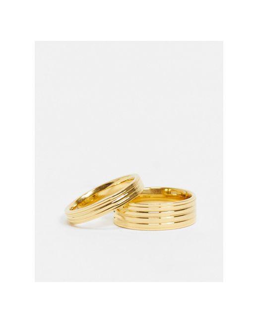 Набор Из 2 Золотистых Колец -золотистый River Island для него, цвет: Metallic