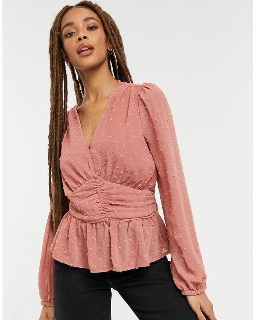 Розовая Блузка Из Ткани Добби Со Сборками Спереди -розовый Цвет New Look, цвет: Pink