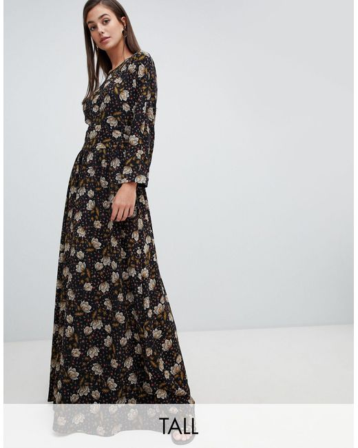 Y.A.S Black Retro Floral Maxi Dress