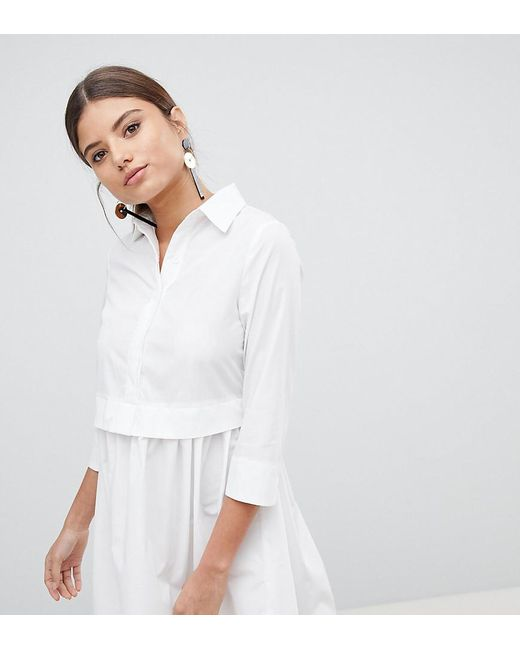 529284f8671 PRETTYLITTLETHING - White Skater Shirt Dress - Lyst PRETTYLITTLETHING ...