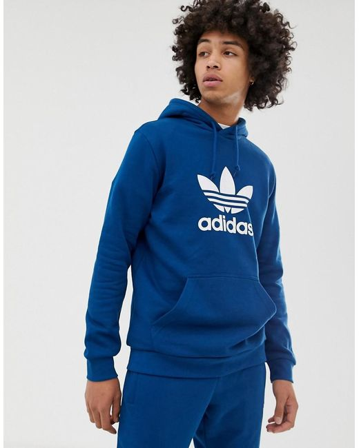 Hoodie With Trefoil Logo Blue