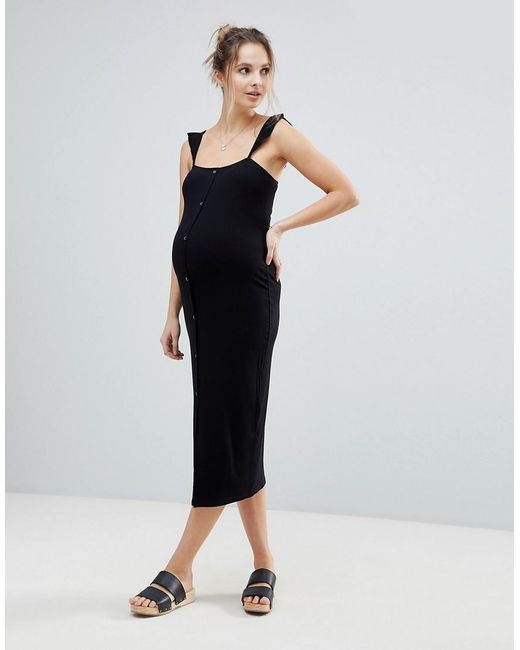 Midi Vest Dress with Frill Straps and Popper Placket - Black Asos Maternity vtMioR
