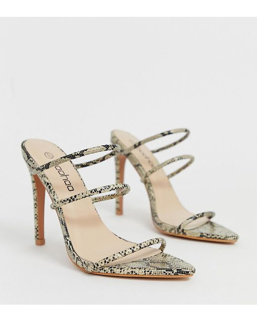 b16665b662442 Boohoo - Multicolor Strappy Heeled Sandals In Snake - Lyst ...