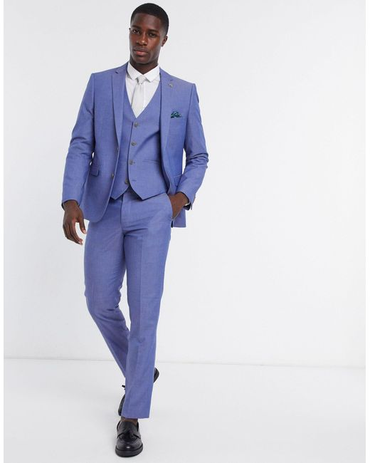 Синий Однотонный Приталенный Жилет -голубой Farah для него, цвет: Blue