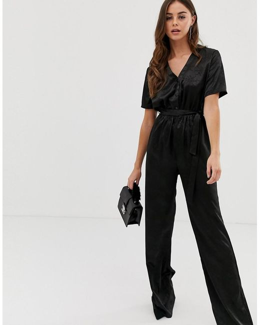 7d3b3d959aa1 PRETTYLITTLETHING - Satin Jumpsuit In Black Jaquard - Lyst PRETTYLITTLETHING  ...