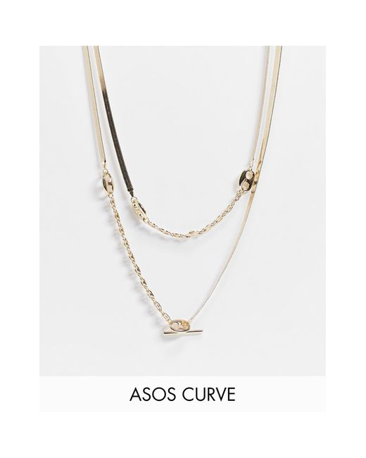 ASOS Metallic Asos Design Curve Multirow Necklace With Herringbone And Tab Link Chain