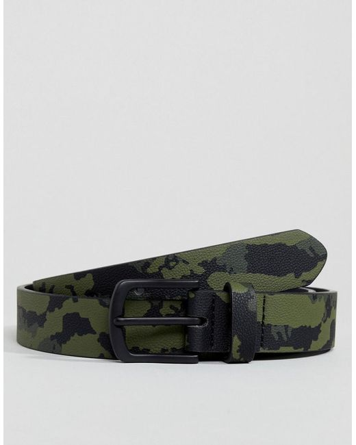 ASOS - Green Faux Leather Slim Belt In Camo Print for Men - Lyst