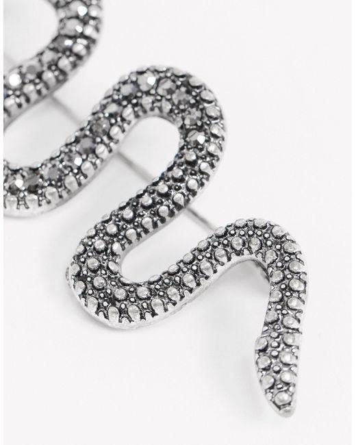Серебристая Брошь В Виде Змеи Со Стразами ASOS для него, цвет: Metallic