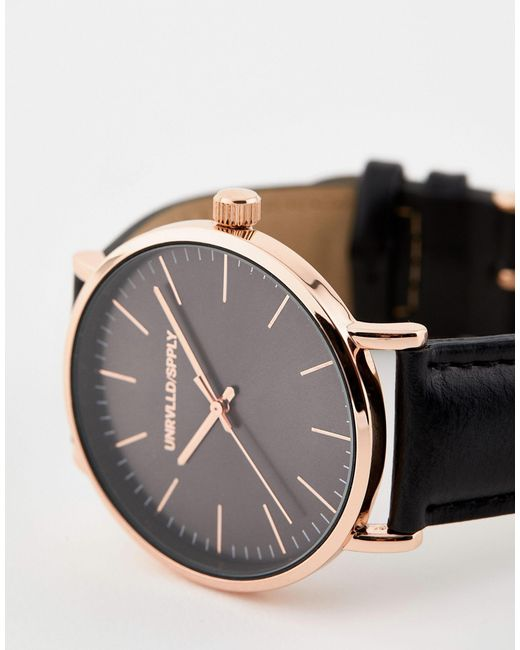 Черные Часы С Золотисто-розовым Корпусом ASOS для него, цвет: Black