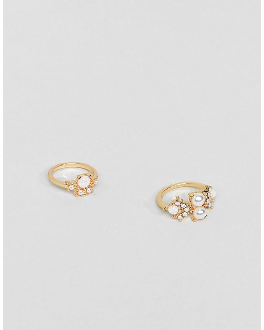 ASOS - Metallic Pack Of 2 Rings With Pearl Detail In Gold - Lyst