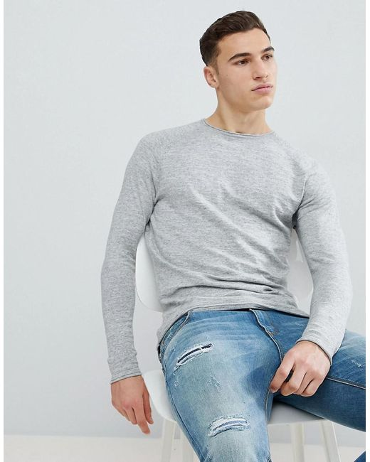 Bershka - Gray Lightweight Knitted Jumper In Light Grey for Men - Lyst