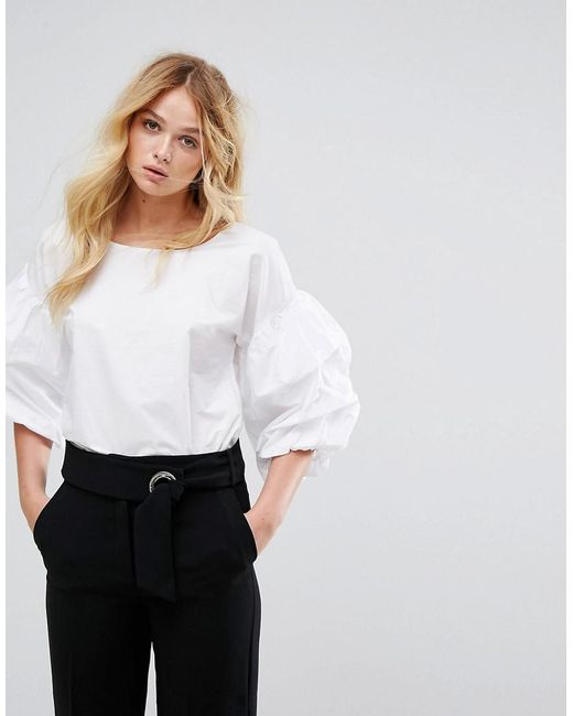 Mango | White Balloon Gathered Sleeve Top | Lyst