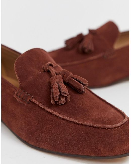 7666dbd0f4c ... H by Hudson - Brown Wide Fit Bolton Tassel Loafers In Rust Suede for Men  -