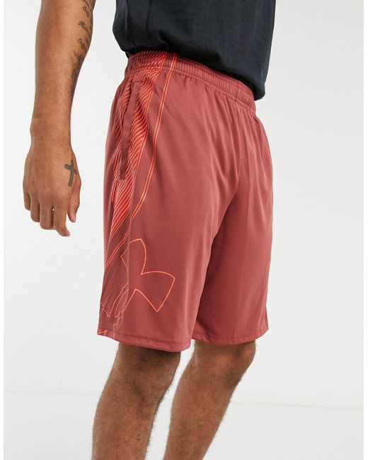 Under Armour Red Training Logo Shorts for men