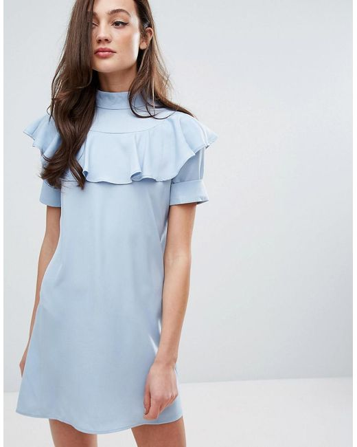 Fashion Union | Blue Frill Front Shift Dress | Lyst